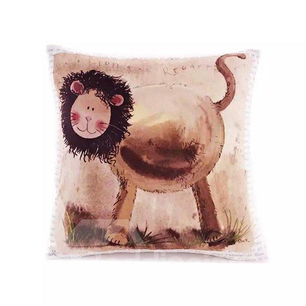 Cartoon Lion Paint Throw Pillow Case
