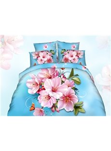 Graceful 3D Peach Blossom Printing Blue Cotton 4-Piece Duvet Cover Sets