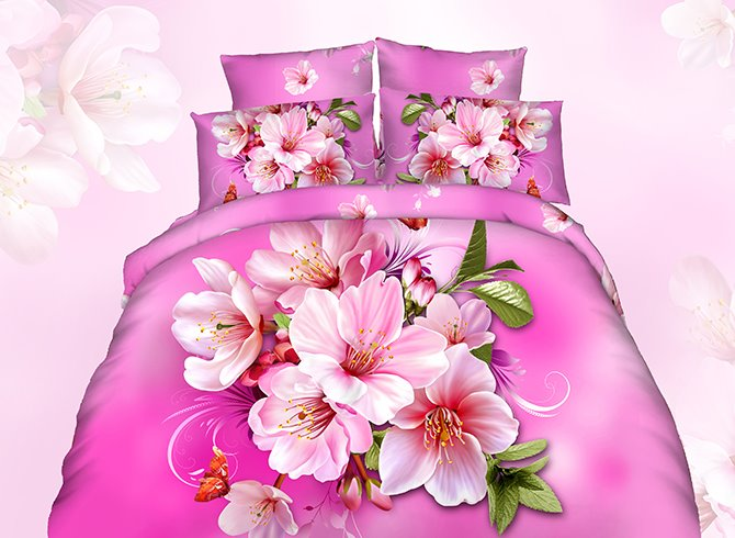 3D Pink Peach Blossom Printed Cotton 4-Piece Bedding Sets/Duvet Cover