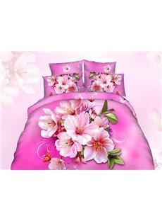 Vibrant 3D Peach Blossom Printing Cotton 4-Piece Duvet Cover Sets