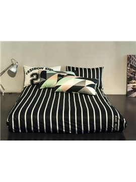 Modern Strip Black 4 Pieces Bedding Sets