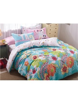 Beautiful Colorful Flowers 4 Pieces Bedding Sets
