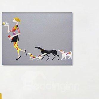 Modern Creative Leisure Woman and Dogs Wall Art Print