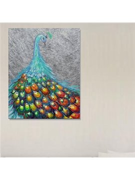 Beautiful Peacock in Field 1-Panel Wall Art Print