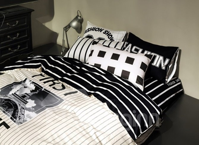 Modern Style Love Letters Pattern Cotton 4-Piece Bedding Sets/Duvet Cover