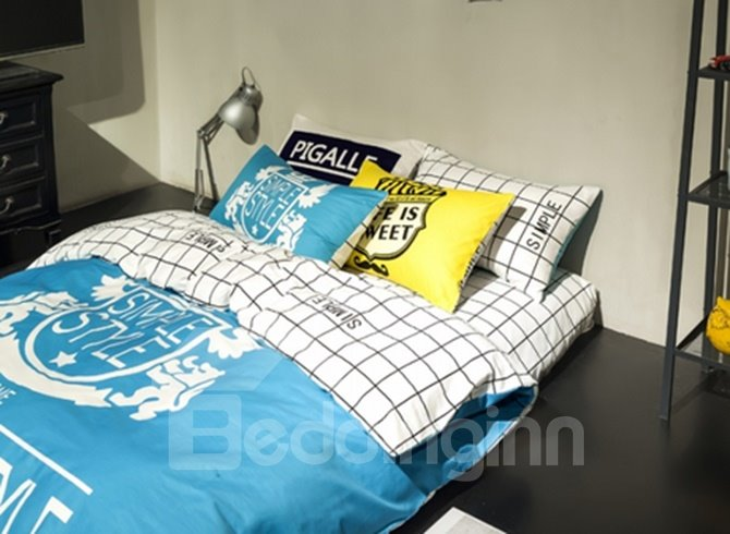 Simple Blue Letter Cotton 4 Pieces Bedding Sets