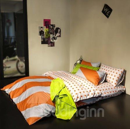 Fashion Colorful Stripe Cotton 4 Pieces Bedding Sets