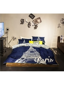 Modern Eiffel Tower Cotton 4 Pieces Bedding Sets
