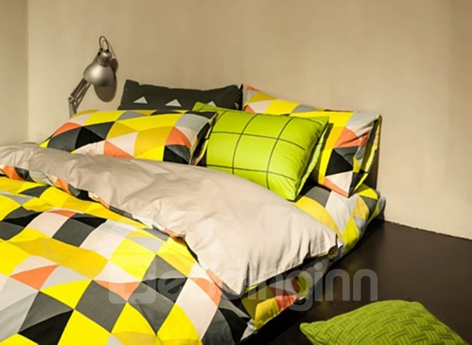 Modern Colorful Geometric Cotton 4 Pieces Bedding Sets