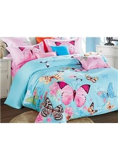 Colorful Flying Butterflies Printing Satin 4-Piece Blue Duvet Cover Sets