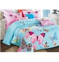 Colorful Flying Butterflies Printing Satin 4-Piece Blue Bedding Sets/Duvet Cover
