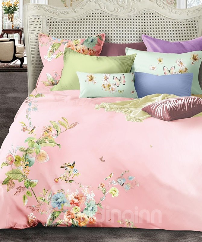 Pastoral Style Birds on Floral Twig Printing Satin Pink 4-Piece Duvet Cover Sets