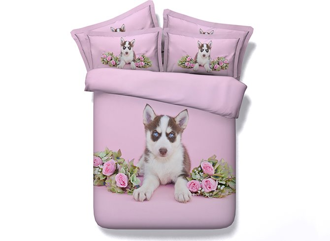 3D Husky Dog and Roses Printed 4-Piece Pink Bedding Sets/Duvet Covers
