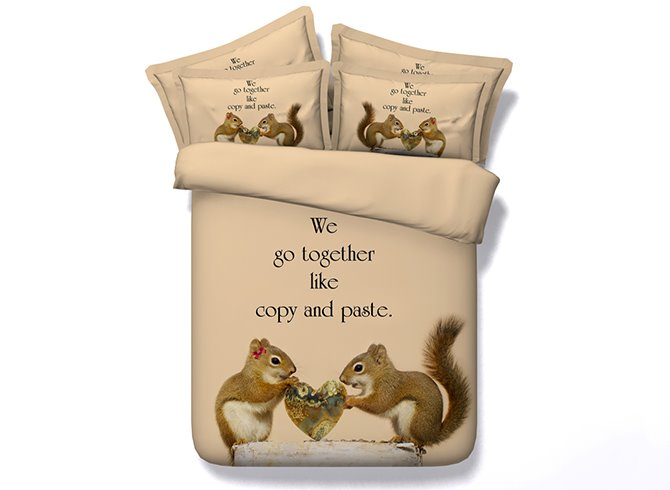 3D Squirrel Lovers Printed Cotton 4-Piece Camel Bedding Sets/Duvet Covers