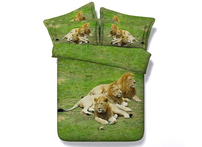 Three Lions Crouching on Grass Digital Printing Green 4-Piece Duvet Cover Sets