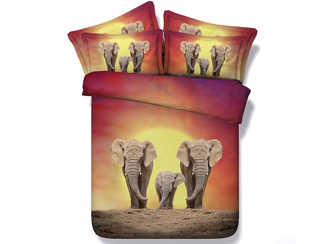 3D Elephant Family Printed Cotton 4-Piece Bedding Sets/Duvet Covers