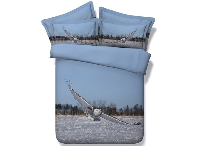 3D Flying Owl under Blue Sky Printed Cotton 4-Piece Bedding Sets/Duvet Covers