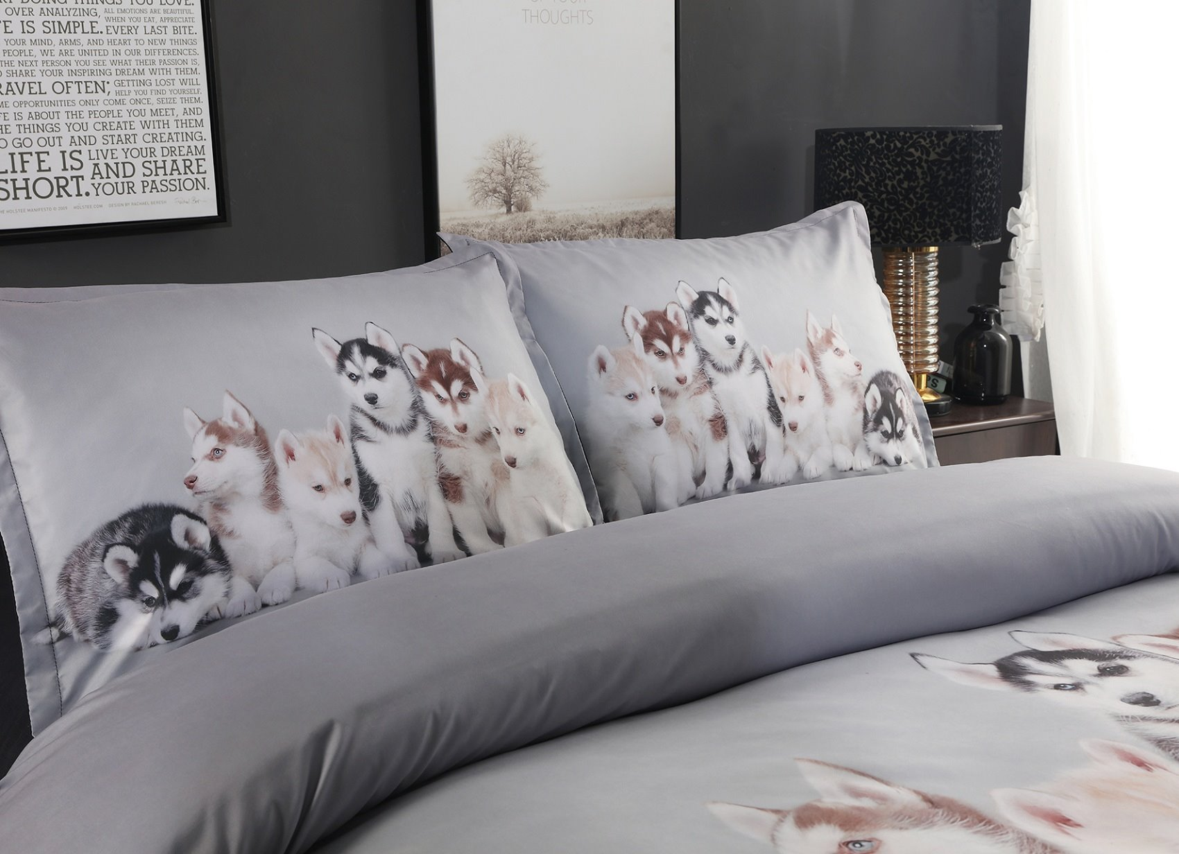 3D Husky Puppies Printed 4-Piece Bedding Sets/Duvet Covers