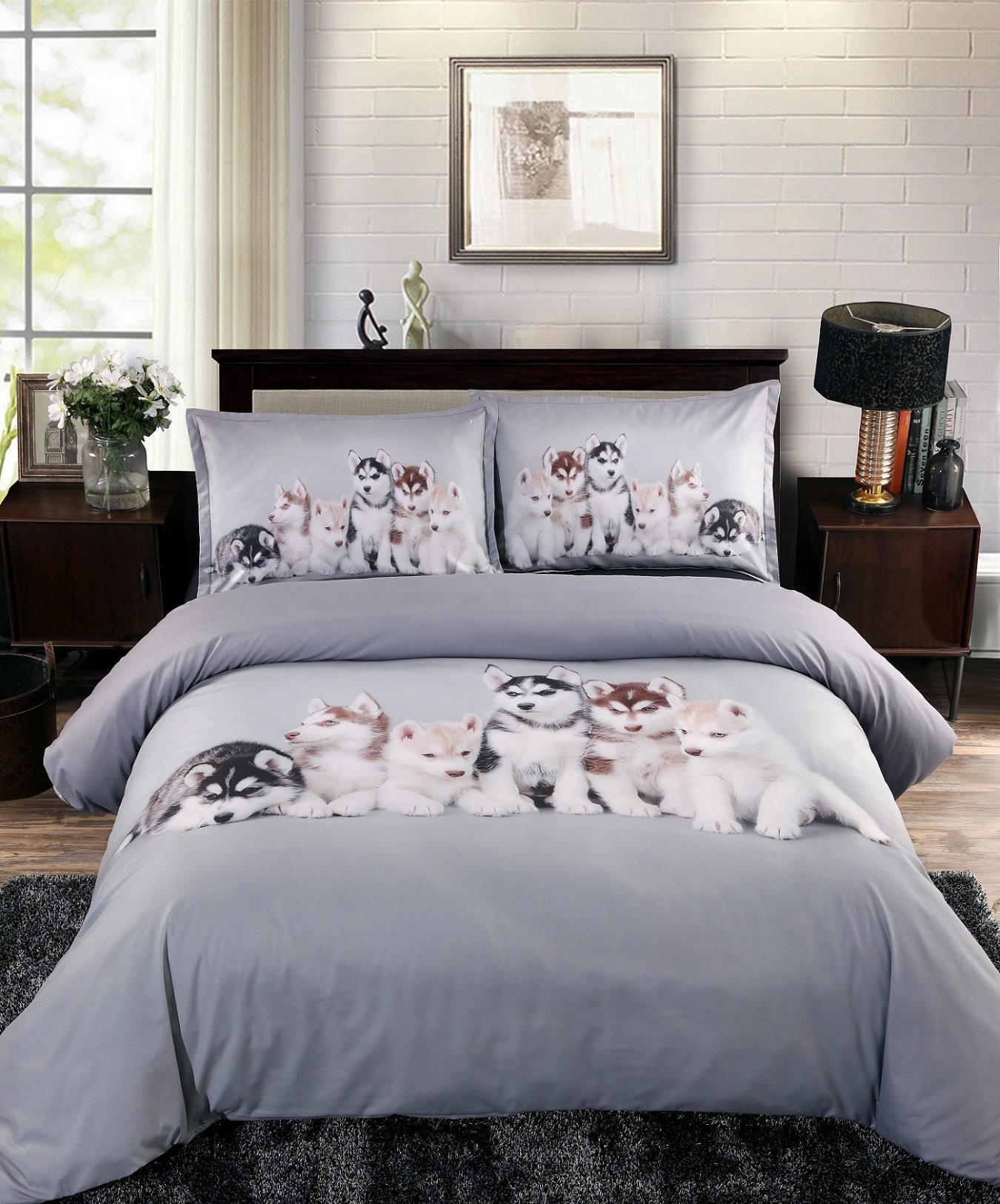 3D Husky Puppies Printed 4-Piece Bedding Sets/Duvet Covers beddinginn