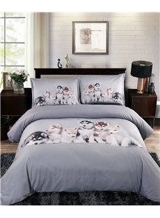 Husky_Puppies_Printed_4Piece_3D_Bedding_SetsDuvet_Covers