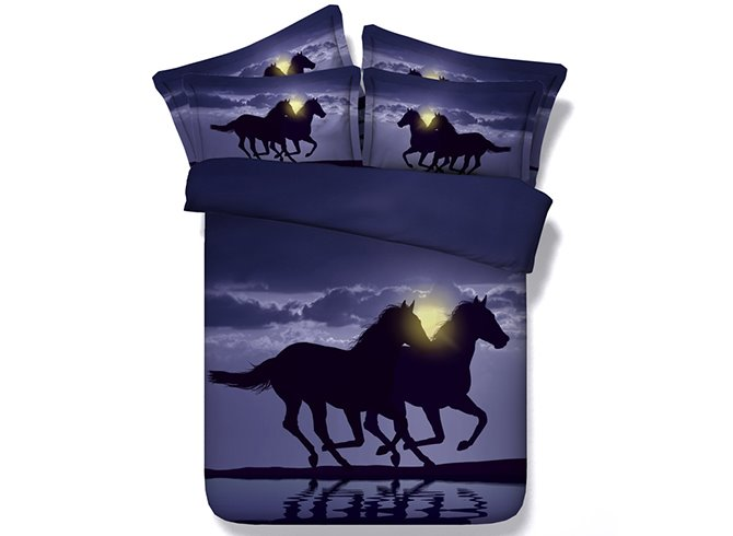 Two Running Horses Digital Printing Purple 4-Piece Duvet Cover Sets