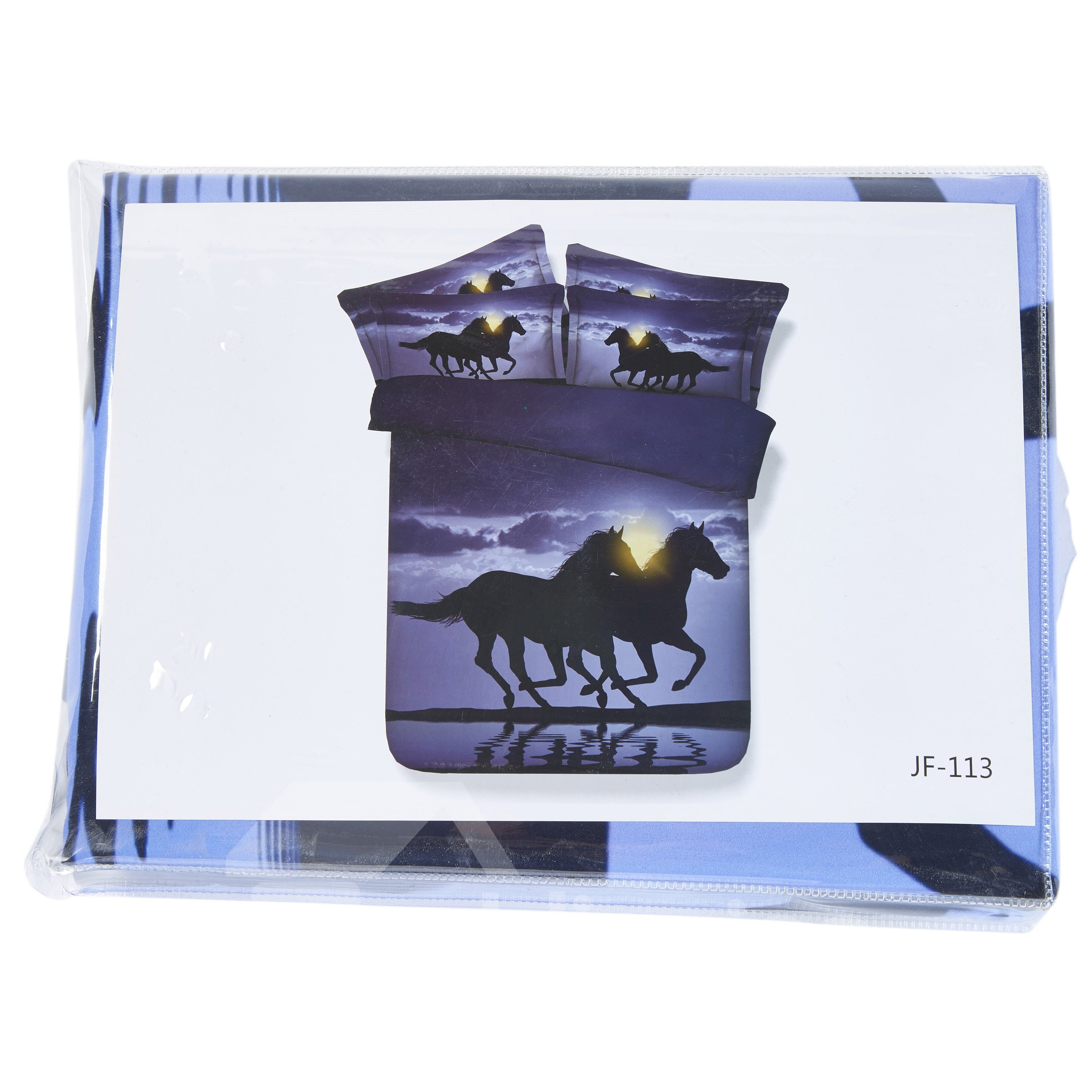 3D Two Running Horses Printed Cotton 4-Piece Bedding Sets/Duvet Covers