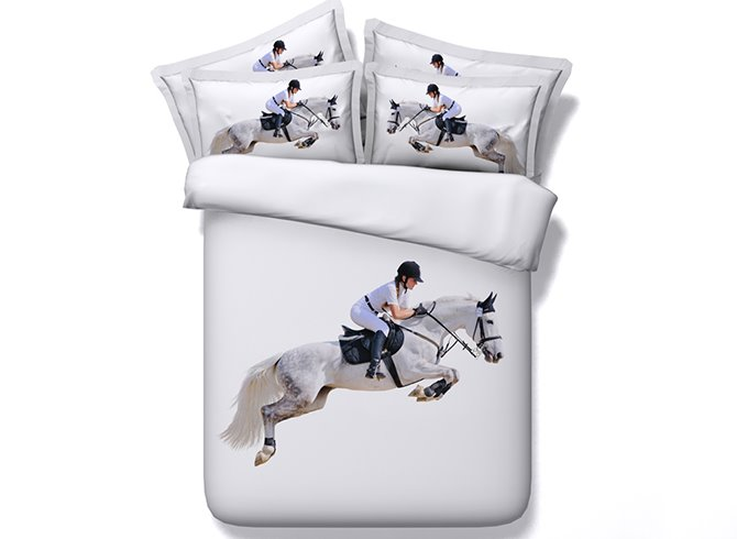 Super Cool Horse Riding Digital Printing 4-Piece White Duvet Cover Sets