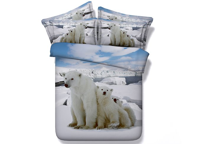 Polar Bear Printed Cotton 4-Piece 3D White Bedding Sets/Duvet Covers