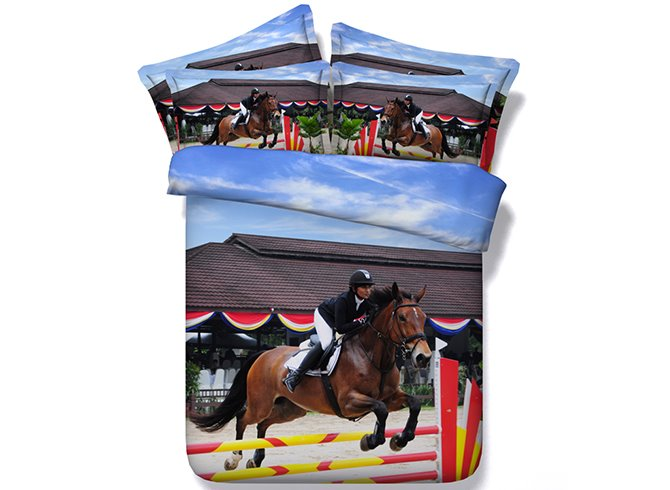 3D Horse and Rider Printed Cotton 4-Piece Bedding Sets/Duvet Covers