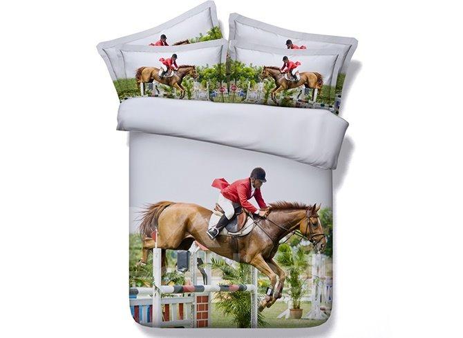 Horse Riding Digital Printing Machine Washable 4-Piece Duvet Cover Sets