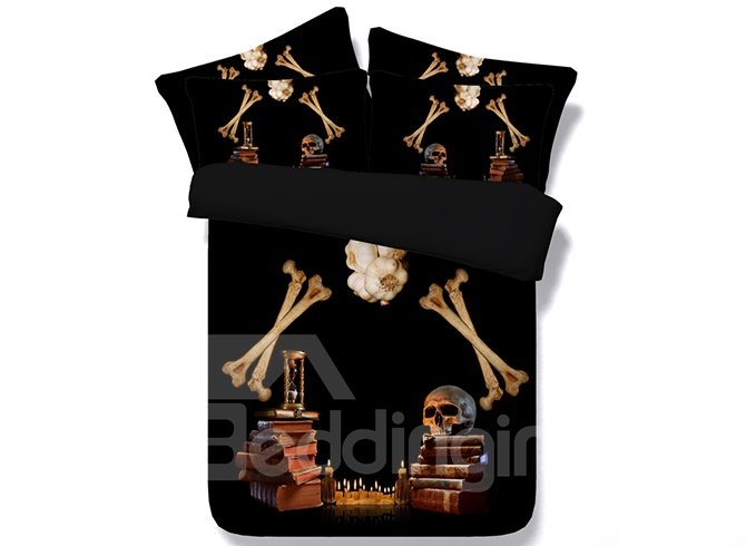 3D Book Skull Printed Halloween Cotton 4-Piece Bedding Sets/Duvet Covers