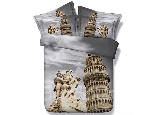 3D the Leaning Tower of Pisa Printed Cotton 4-Piece Bedding Sets/Duvet Covers