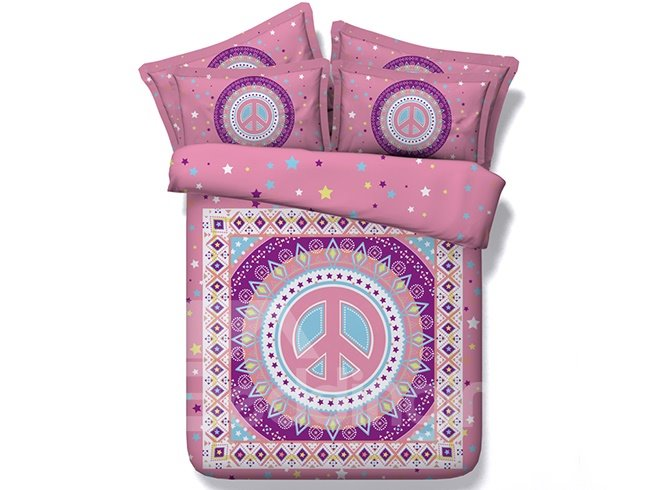 Retro Digital Printing Pink 4-Piece Duvet Cover Sets