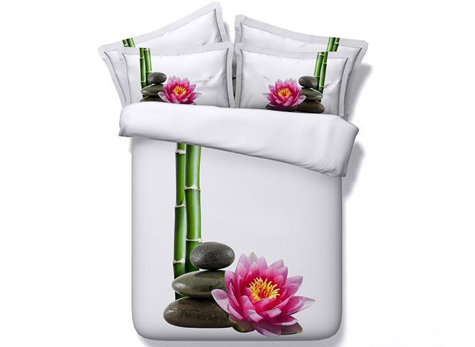 Graceful Lotus and Bamboo Digital Printing 4-Piece White Duvet Cover Sets