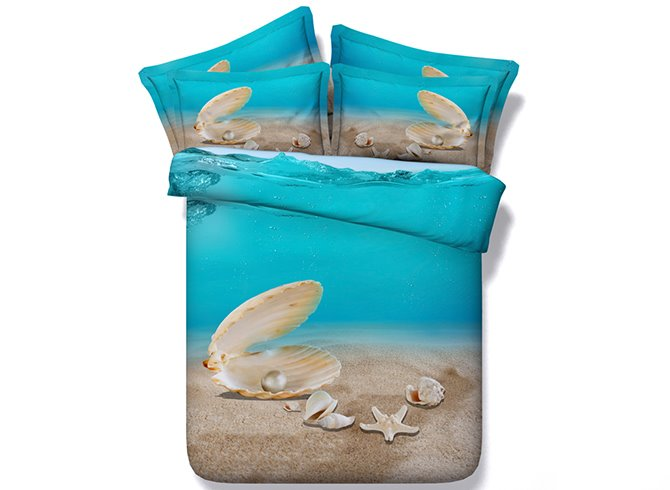 Shell and Starfish Printed 4-Piece 3D Bedding Sets/Duvet Covers