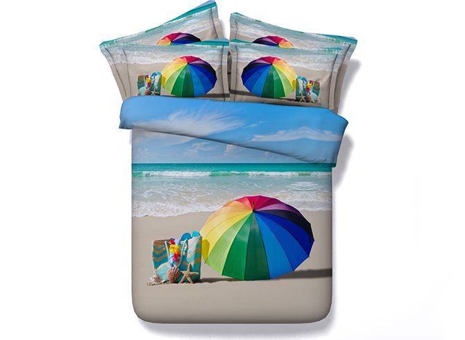 Rainbow Colored Umbrella Beach Scenery Digital Printing 4-Piece Duvet Cover Sets