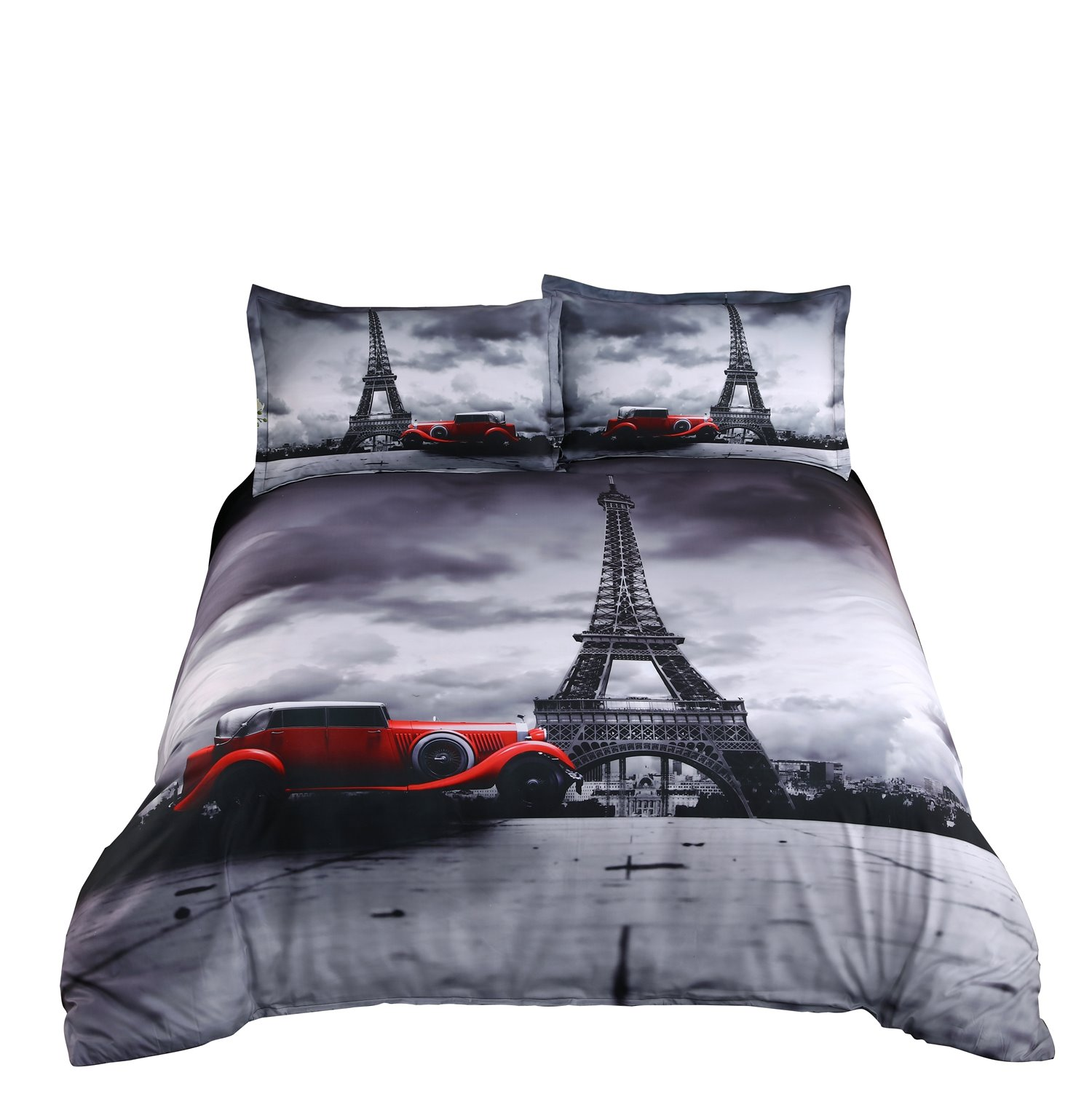 3D Paris Eiffel Tower and Vintage Car Printed Cotton 4-Piece Bedding Sets