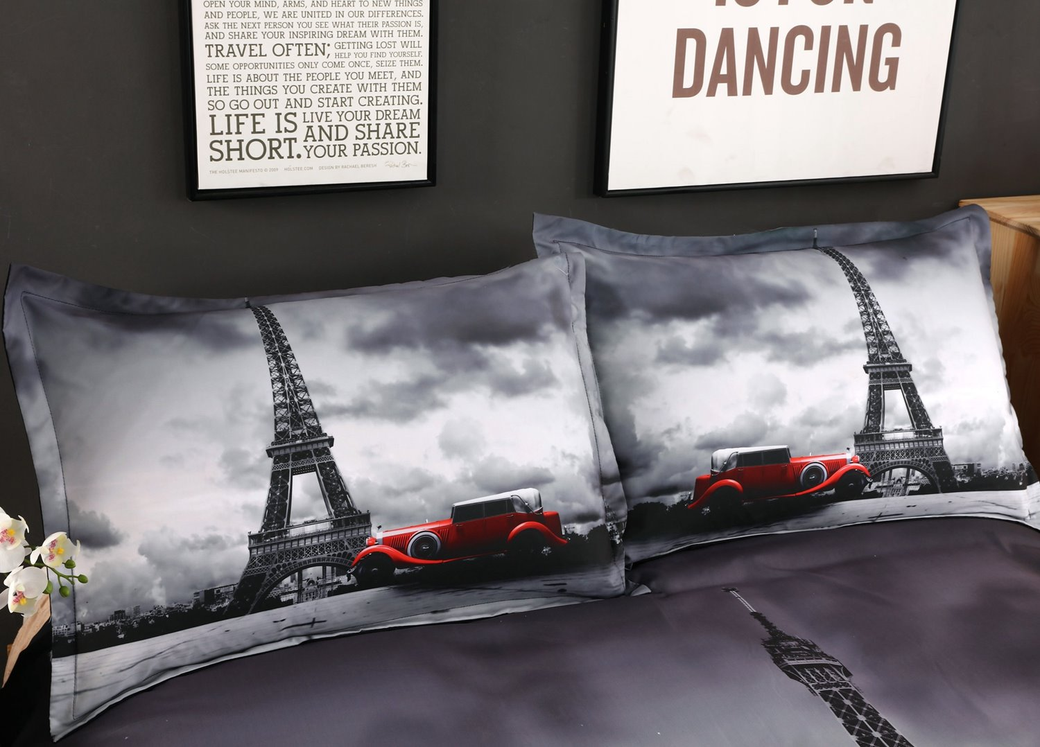 Paris Eiffel Tower and Vintage Car Printed Cotton 3D 4-Piece Bedding Sets