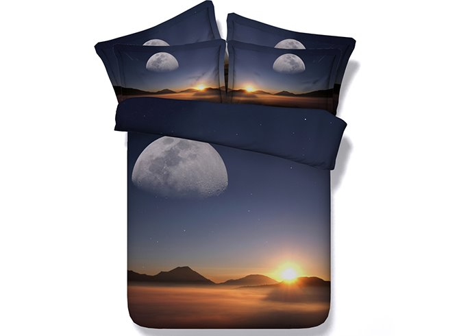Charming Sunset Scenery Digital Printing 4-Piece Duvet Cover Sets