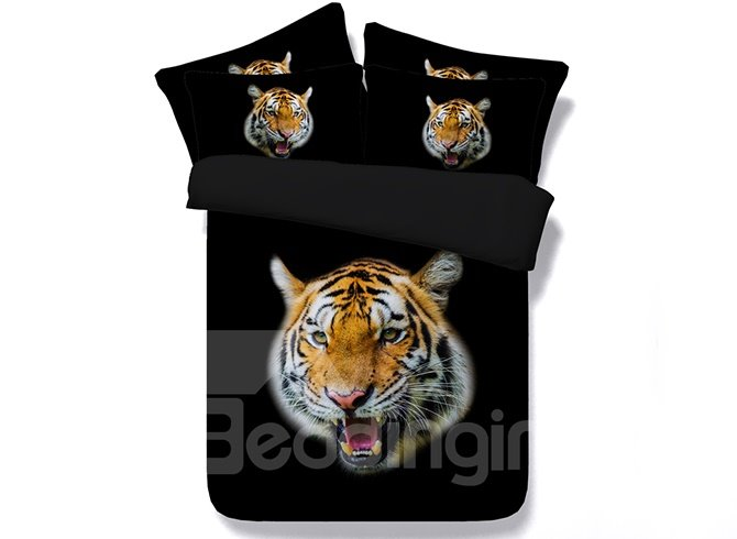 Tiger Head Digital Printing 4-Piece Bedding Sets/Duvet Covers