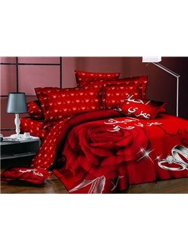 Passionate Vivid 3D Red Rose Polyester 4-Piece Duvet Cover Sets