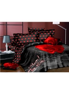 Fiery Red Rose Polyester 4-Piece Black Duvet Cover Sets