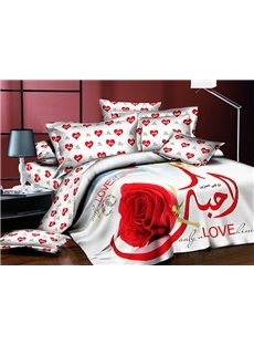 Red Rose Polyester 4-Piece Duvet Cover Sets for Lovers