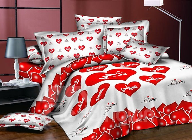 Romantic Red Heart Shaped Printing Polyester 4-Piece Duvet Cover Sets beddinginn