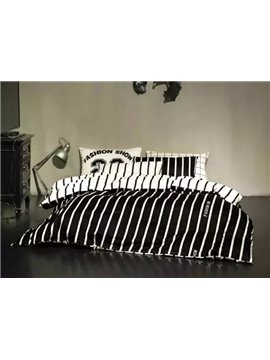 Classical White and Black Printing 4-Piece Duvet Cover Sets