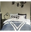 Plain Plaid and Geometric Style 4-Piece Duvet Cover Sets