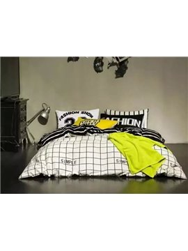 Classic White and Black Plaid Design 4-Piece Duvet Cover Sets