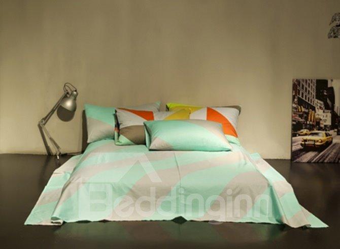 Plain Stripe Design 4-Piece Duvet Cover Sets