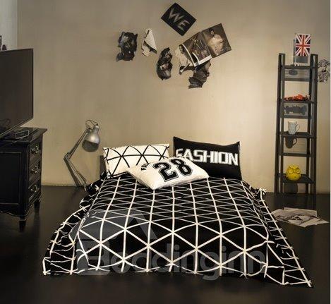Fashion Geometric Cotton 4-Piece Duvet Cover Sets