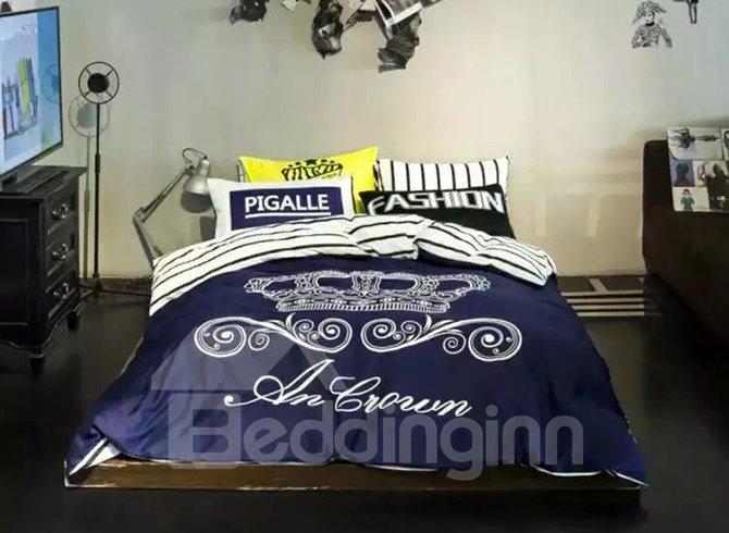Fantastic Crown Printing 4-Piece Duvet Cover Sets